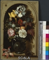 ******** Ast, Balthasar van der (c.1593-1657). Irises, Roses, and Lilies of the Valley and Other Flowers in a Glass Vase in a Niche. Balthasar van der Ast (c.1593-1657). Oil on panel. Dated 1621. 30.5 x 19.7cm.