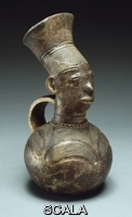 ******** Congolese. A Mangbetu terracotta vessel, the neck supporting a stylized head and coiffure. 28cm. high