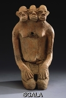 ******** Malian. A Djenne terracotta kneeling female figure.  Thermoluminescent analysis suggested the median date for this firing was 1584. 30.5cm. high
