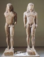 Greek art Greek civilization, 6th century. Marble statues representing brothers Kleobis and Biton.