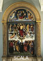 Perugino (1445/50-1523) The Eternal Father in Glory and the Ascension of Christ. Panel committed by the Benedectine Friars for the Polyptych of the High Altar of the Basilica of Perugia.