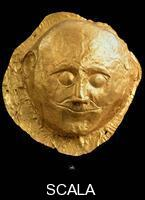 Mycenaean art Gold mask, from 4th Tomb of Mycenae