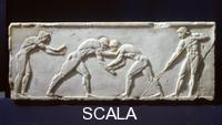 ******** Base of statue: wrestlers