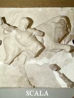 ******** Metope of the temple of Zeus with Hercules fighting the bull
