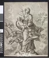 ******** The Virgin of the Immaculate Conception, standing on the globe, the crescent moon behind her, holding the Child who spears the serpent at her feet with his Cross, angels in the sky behind. Etching after Carlo Maratti (Maratta), 1675-1720