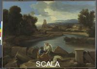 Poussin, Nicolas (1594-1665) Landscape from the Roman campagna with Saint Matthew and the Angel, 1639-40