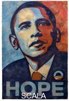Fairey, Shepard (b. 1970) Barack Hussein Obama. Hand-finished collage, stencil, and acrylic on heavy paper, 2008