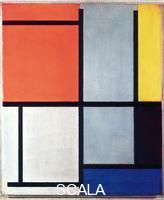 Mondrian, Piet (1872-1944) Tableau 3, with Orange-Red, yellow, Black, Blue and Grey, 1921