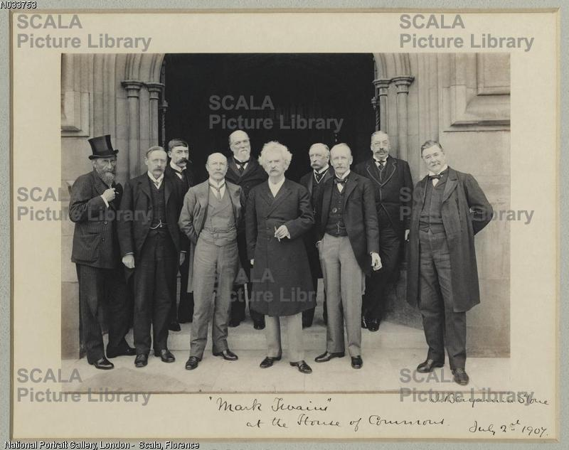 ******** Mark Twain at the House of Commons (John Samuel Phene; Sir Edmund William Gosse; (Montague Horatio) Mostyn Turtle Pigott; Mr Walter; Sir John Henniker Heaton, 1st Bt; Mark Twain (Samuel Langhorne Clemens); Sir Hugh McCalmont; Sydney Charles Buxton, Earl Buxton; Unknown man; Thomas Power O'Connor) by Sir (John) Benjamin Stone. 2 July 1907