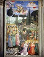Gozzoli, Benozzo (1420-1497) Procession of the Magi: left-hand wall with angels in adoration
