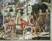 Gozzoli, Benozzo (1420-1497) Procession of the Magi: wall with Lorenzo - detail (Lorenzo with archers)