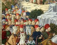 Gozzoli, Benozzo (1420-1497) Procession of the Magi: wall with Lorenzo - detail (procession with members of the Medici family)