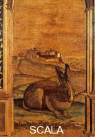 ******** Choir: wood inlay with landscape and rabbit