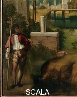 Giorgione (Barbarelli, Giorgio from Castelfranco 1477-1510) The Tempest - detail (man)