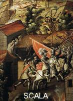 ******** Hernan Cortes (1485-1547) and his troops during the Noche Triste (sorrowful nigh), June 30, 1520, Mexico, detail from the Screen with scenes of the Spanish conquest, Battle at Tenochtitlan, oil painting by an unknown 17th century artist, 213x550 cm. Central America, 16th century.
