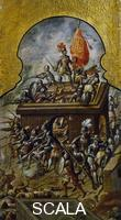 ******** The Spanish hoisting the flag on temples and palaces, detail of the folding screen with the Conquest of Mexico, by an unknown 17th century artist, oil on canvas, 213x550 cm. Central America, 16th century.