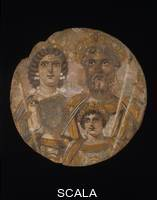 ******** The Roman Emperor Septimus Severus (r. 193-211 CE), his wife Julia Domna, and his children Caracalla and Geta. From Egypt, Roman Period, ca. 200 CE.