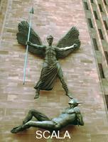 ******** St Michael's Victory over the Devil', Coventry Cathedral, West Midlands. Sculpture by Sir Jacob Epstein on the outside wall of the cathedral designed by Sir Basil Spence to replace the one destroyed in the heavy German bombing that Coventry suffered in the Second World War. Spence insisted that the new building be built alongside the ruined shell of the old cathedral, rather than rebuilding it. The foundation stone for the new cathedral was laid in 1956 and it was consecrated in 1962. Both the old and new cathedrals are dedicated to St Michael.