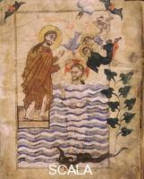 ******** Ms 2744 Gospel by the painter Simeon of Arces: The baptism of Christ, f. 4r, 1305