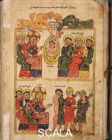 Daniel of Uranc (15th cent.) Ms 4963 f. 2r Gospel: The miracle of paralitic and of the woman, 1433