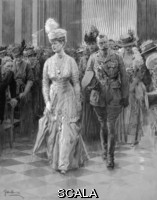******** King George V and Queen Mary walking down aisle. King George V and Queen Mary entering St. Paul's Cathedral for a special service on the occasion of their Silver Wedding in July 1918.  The royal party, preceded by the Lord Mayor and Sheriffs, made their w