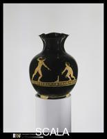 Greek art Terracotta oinochoe (jug). Scene depicts two boys playing a game of ball. Greek, Attic; ca. 420 B.C