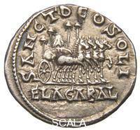 ******** Coin of the time of Emperor Elagabalus (218-222) from Antioch (Antakya, Syria) - reverse (four-horse-chariot with the stone of Baal from Emesa and four umbrellas)