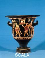 Asteas (4th cent. BCE) Italiot krater with scene of phlyakes with Zeus resting a ladder against Alcmene's window