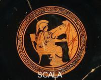 Greek art Kylix with Athena constructing the Trojan Horse