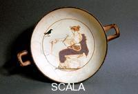 Greek art White-ground kylix with Apollo wreathed with myrtle
