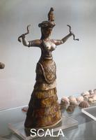 Minoan art Serpent goddess with raised arms
