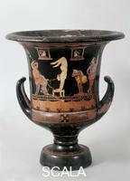Asteas (4th cent. BCE) Krater with scene of phlyakes with acrobat