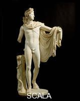 Roman art Belvedere Apollo (copy after a Greek bronze original by Leochares, dating back to 350-325 BCE)