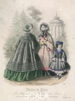 ******** Two women and a child wearing the latest fashions in a garden setting, 1860