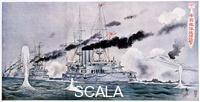 Japanese art Japanese naval squadron steaming to bombard Port Arthur, Russo-Japanese War 1904-1905