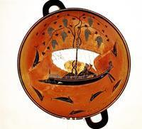 Greek art Dionysius in a sailing boat surrounded by dolphins, Ancient Greek dish (Krater), 530 B.C.