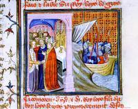 ******** Chronique de St. Denis: the marriage of Eleanor of Aquitaine and Louis VII king of France, The departure of the King for the 2nd crusade, 14th cent.