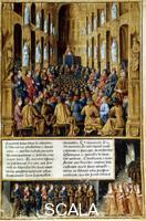 ******** Pope Urban II presiding over the Council of Clermont, France, 1095 (c. 1490) (from 'Le Passage faits outremer par les Francais contre le Turcs et Autres Sarrasins et Maures outremarins'   - 'Overseas Journeys made by the French against Turks and other Saracens and Moors' - by Sebastien Mamerot)