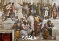 Raphael (1483-1520) School of Athens: left-hand part (Empedocles, Pythagoras, Francesco Maria della Rovere, Anaxagoras and Heraclitus under the semblance of Michelangelo)