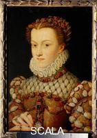 Clouet, Francois (1516-1572) Portrait of Elizabeth of Austria, Queen of France (wife of Charles IX of Valois)