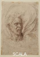 Michelangelo (Buonarroti, Michelangelo 1475-1564) Male head shouting, called the Fury or the Damned, c. 1525, inv. 601 E