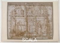 Michelangelo (Buonarroti, Michelangelo 1475-1564) Design for the tomb of Julius II, inv. 608 E