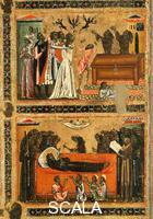 Berlinghieri, Bonaventura (1235-1274), attr. Saint Francis and Scenes from His Life - detail (The Woman Possessed by the Devil and Death of the Saint)