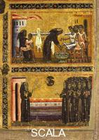 Berlinghieri, Bonaventura (1235-1274), attr. Saint Francis and Scenes from His Life - detail (The Saint with the Lepers and Appearance at Arles)