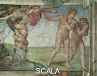 Michelangelo (Buonarroti, Michelangelo 1475-1564) Center of the ceiling: Original Sin and Expulsion from the Garden of Eden [before restoration]