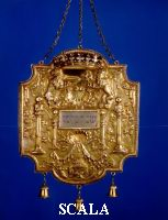 Wagner, Zacharias (fl. 1712-33) Torah Shield. Augsburg, c.1715, (c.1680-1733). Silver, repousse, cast, engraved and gilt. 42.2 x 30.3 cm. Gift of Dr. Harry G. Friedman, F70C.