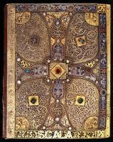 ******** M. 1, The Lindau Gospels, from Abbey of St. Gall, Switzerland. Origin area: Salzburg, late 8th century. Back cover: Cross with busts of Christ and Evangelists.