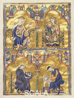******** Blanche of Castile and King Louis IX of France; Author Dictating to a Scribe. Moralized Bible, France, c.1230. M.240, F.8.