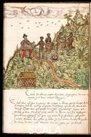 ******** How the Negro slaves work and look for gold in the mines of the Region called Varaguas, from Histoire Naturelle des Indes (Natural History of the Indies), the 'Drake manuscript', written in late 16th century French, 29.2 x 20 cm. MA 3900, f.100.