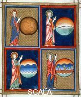 ******** Creation of the earth, dividing the waters, creation of the heavens, creation of plants. Psalter, France (probably Arras), last quarter 13th c. M.730, f.9.